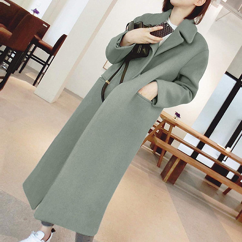 TIFIY Lange Strickjacke für Frauen Winter Warm Open Trenchcoat Winddichte Outwear Reversjacke Mantel Grün