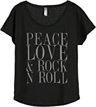 Peace Love and Rock 'N Roll Women's Fashion Slouchy Dolman T-Shirt Tee