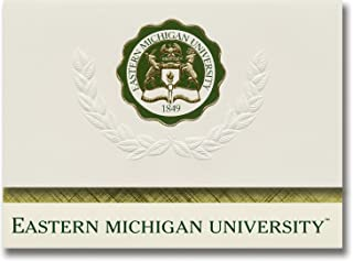 Signature Announcements Eastern Michigan University Graduation Announcements, Platinum style, Basic Pack 20 with Eastern Michigan U. Seal Foil