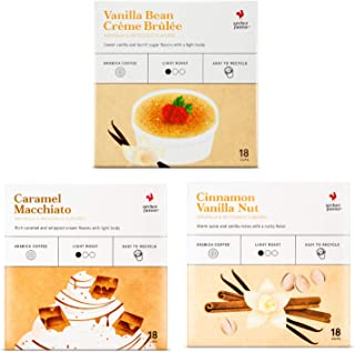 ARCHER FARMS Light Roast Coffee K-cups Variety Pack - 3 Flavors - Caramel Macchiato (18 Ct) + Vanilla Bean Crème Brulee (18 Ct) + Cinnamon Vanilla Nut (18 Ct) - Single Serving Pods 54 Cups of Joy
