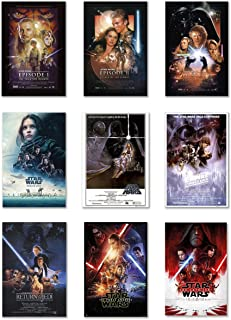 Star Wars: Episode I, II, III, IV, V, VI, VII, VIII & Rogue One - Movie Poster Set (9 Individual Full Size Movie Posters) (Size: 27 inches x 40 inches Each)