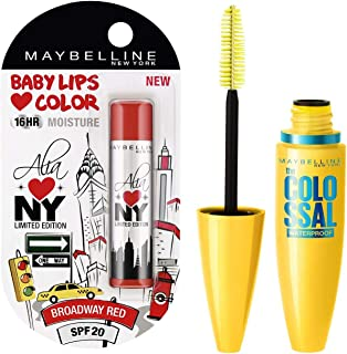 Maybelline Baby Lips Alia Loves New York, Broadway Red, 4g and Maybelline New York Volume Express Colossal Masacara, Water...