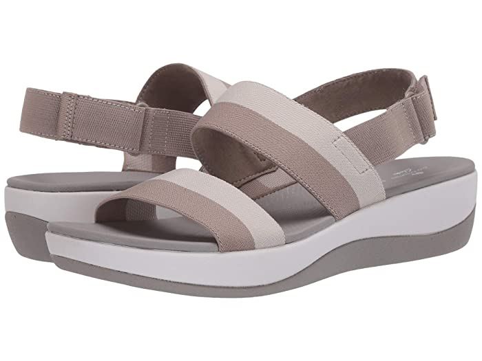 Clarks  Arla Jacory (Sand/Off-White Striped Textile) Womens Sandals