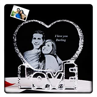 YWHL Personalized Customized Crystal Photo Picture 2D Etched Engraved Wedding Memorial Wife Girlfriend Birthday Gifts for Anniversary Her Him Husband Boyfriend (Customized)