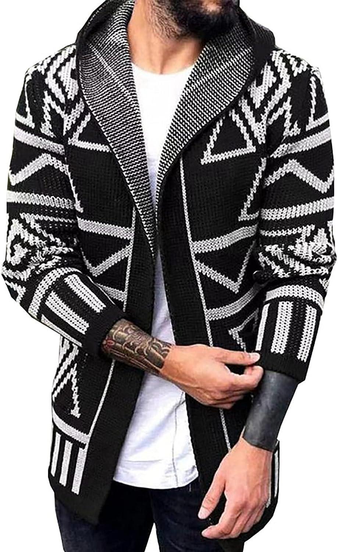 2021 Fashion Cardigan for Men's Hooded Knitwear Sweaters Coat Flat Knitted Loose Plus Size Windbreaker Jacket