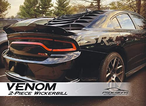 PSDesigns - Venom Series Charger 2 Piece Wickerbill Spoiler 2015-2019 SRT Hellcat Scat Pack with RivNut Tool