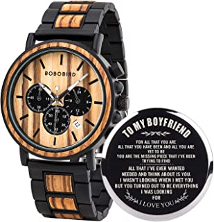BOBO BIRD Mens Personalized Engraved Wooden Watche, Stylish Wood & Stainless Steel Combined Quartz Casual Wristwatches for Men Family Friends Customized Gift