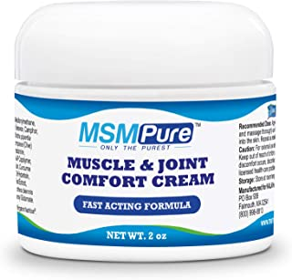 Kala Health MSMPure Maximum Strength Muscle & Joint Comfort MSM Cream, Fast Acting & Non-Staining Formula, Made in The USA, 2 oz