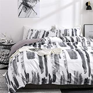 ADASMILE A & S Graffiti Duvet Cover Art Abstract Black and White Ink Pattern 3 Piece Bedding Set, 1 Duvet Cover with 2 Pil...