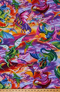 Cotton Dragons Flying Mythical Creatures Fantasy Sunset Sky Multi-Color Cotton Fabric Print by the Yard (MICHAEL-C6317-BRIGHT)