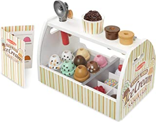Melissa & Doug 9286 Wooden Scoop and Serve Ice Cream Counter (28 pcs) - Play Food and Accessories