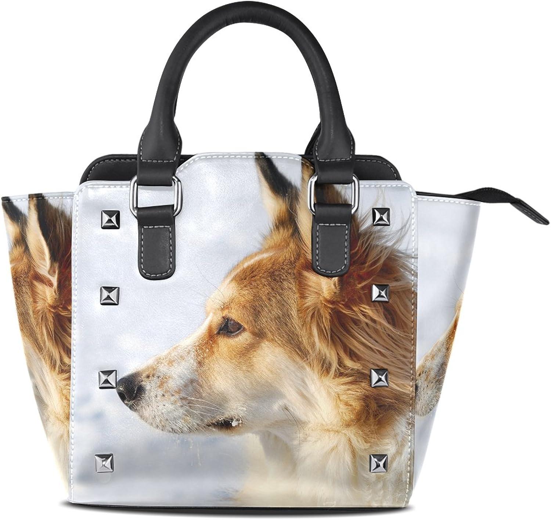 My Little Nest Women's Top Handle Satchel Handbag Winter Cute Young Dog Ladies PU Leather Shoulder Bag Crossbody Bag