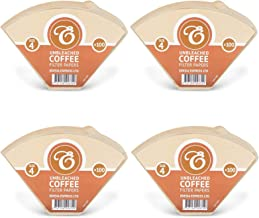 400 Size 4 Coffee Filter Paper Cones, Unbleached by EDESIA ESPRESS