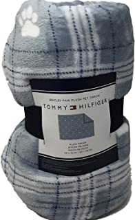Tommy Hilfiger Light Blue and White Plaid with White Paw Prints Plush Pet Throw Blanket