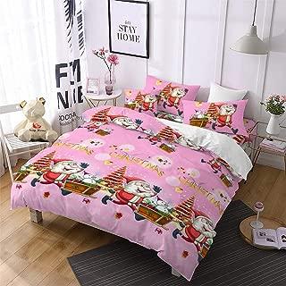 Christmas Duvet Cover Queen,Pink 3D Bedding Santa Cluas Home Decor Gifts for Girls Kids