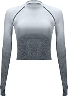 GORIFE Womens Long Sleeve Seamless Gym Yoga Top Workout Breathable Tops with Thumbholes