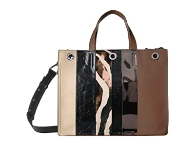 AllSaints Captain East/West Tote (Brown Stripe) Bags