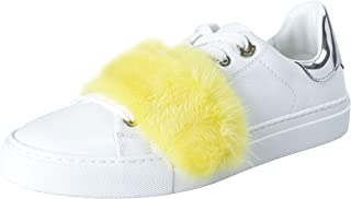 Women's Lenny Mink Fur Trimmed Leather Fashion Sneakers Shoes US 8 IT 38 White
