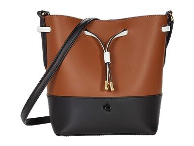 LAUREN Ralph Lauren Super Smooth Debby II Drawstring Medium (Lauren Tan/Black) Handbags