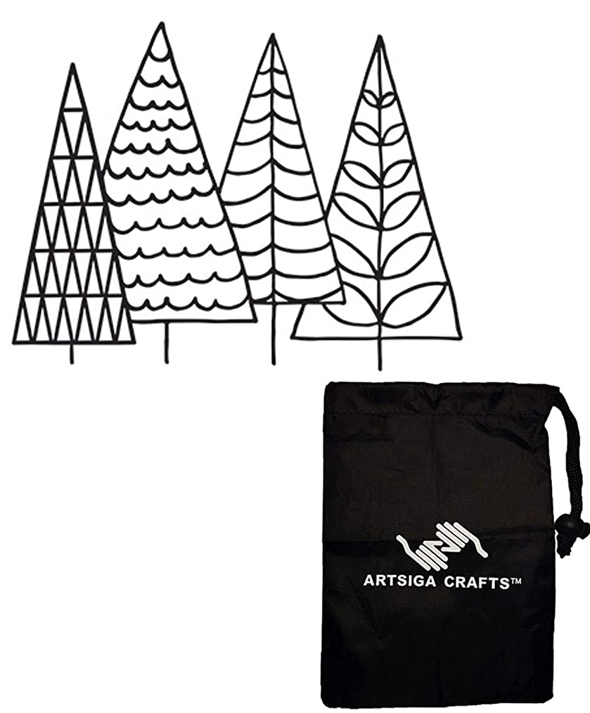 Darice Embossing Folders for Card Making Four Trees 4.25 x 5.75 inches 30041348 Bundle with 1 Artsiga Crafts Small Bag