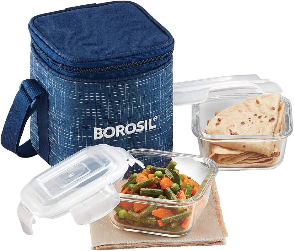 Borosil Indigo Glass Lunch Box Set 2 Vertical of Micro 320 ml Washington Translated Mall
