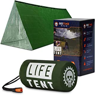 پناهگاه بقا اضطراری برو Time Gear Life - چادر اضطراری 2 نفر - از آن به عنوان چادر زنده ماندن ، پناهگاه اضطراری ، چادر لوله ای ، Survival Tarp استفاده کنید - شامل سوت بقا و پاراكورد