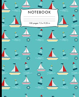 Notebook: Sail boat pattern Composition Notebook with Cursive Paper. 100 pages Cursive Paper Book 7.5 x 9.25 inches for practice writing.