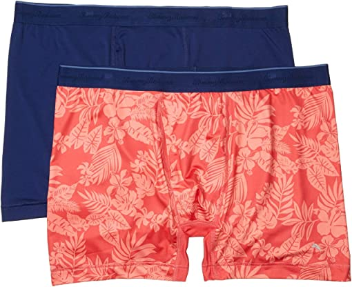 Solid Navy/Coral Leaves