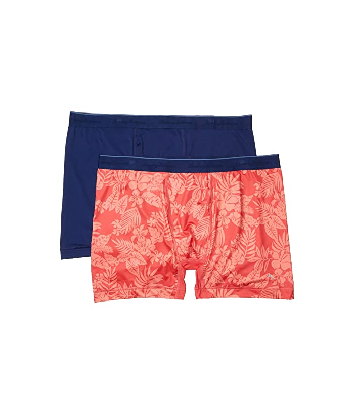 Tommy Bahama  Boxer Briefs 2-Pack (Solid Navy/Coral Leaves) Mens Underwear