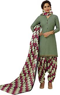 S Salwar Studio Women's Ash Grey & Pink Cotton Printed Readymade Patiyala Suit Set-SSCELEBRATION-1019