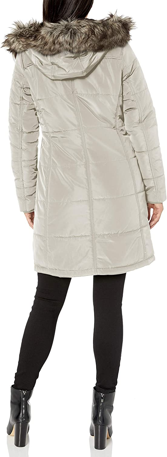 Lucky Brand womens 3/4 Down Jacket With Faux Fur Hood
