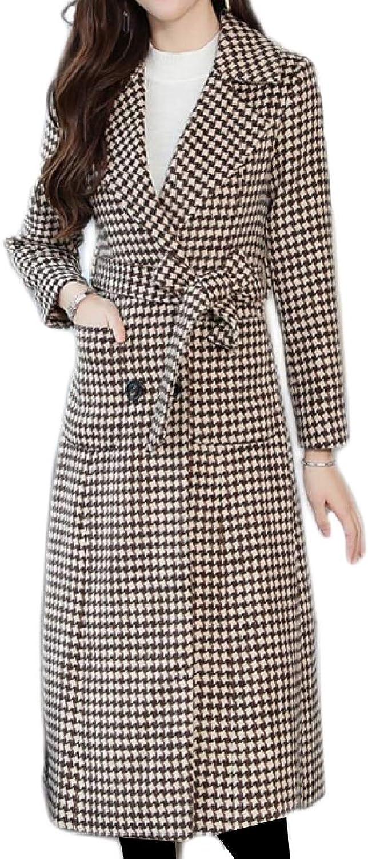 Winme Women Woolen DoubleBreasted Lapel Jacket Overcoat Panelled Pea Coat