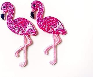 Tyga_Thai Brand Set 2 pcs. Mini Pink Flamingo Cute Bird Logo Applique Embroidered Sew on Iron on Patch for Backpacks Jeans Jackets T-Shirt Clothing etc. (Iron-Mini-Pink-Flamingo)