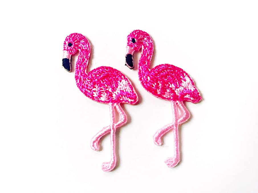 Tyga_Thai Brand Set 2 pcs. Mini Pink Flamingo Cute Bird Logo Applique Embroidered Sew on Iron on Patch for Backpacks Jeans Jackets T-Shirt Clothing etc. (Iron-Mini-Pink-Flamingo)