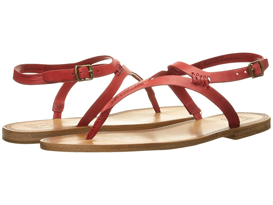 Frye Ruth Whipstitch Sandal (Red Smooth Full Grain) Women