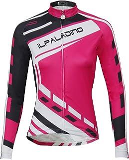 Ilpaladino de Manga Larga de Las Mujeres Color Rosa Jersey Blusas Licras de Ciclismo con protección UV