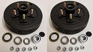 2-Pk 10 in. x 2 Trailer Brake Hub Drum Kit w/Bearings Seal Cap Lugs (5 on 4.5)