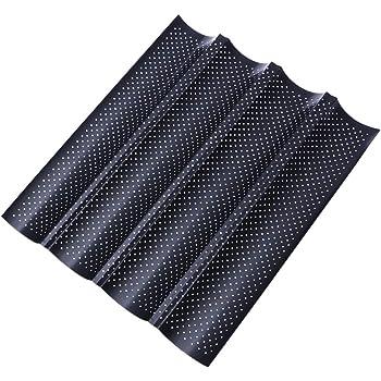 antiadherente Bandeja de horno para baguette acero al carbono para hornear pan franc/és negro 4 ranuras onduladas