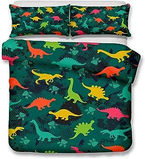 LanS - Juego de cama infantil de tres piezas con diseño de dinosaurios de dibujos animados (1 funda de edredón y 2 fundas ...