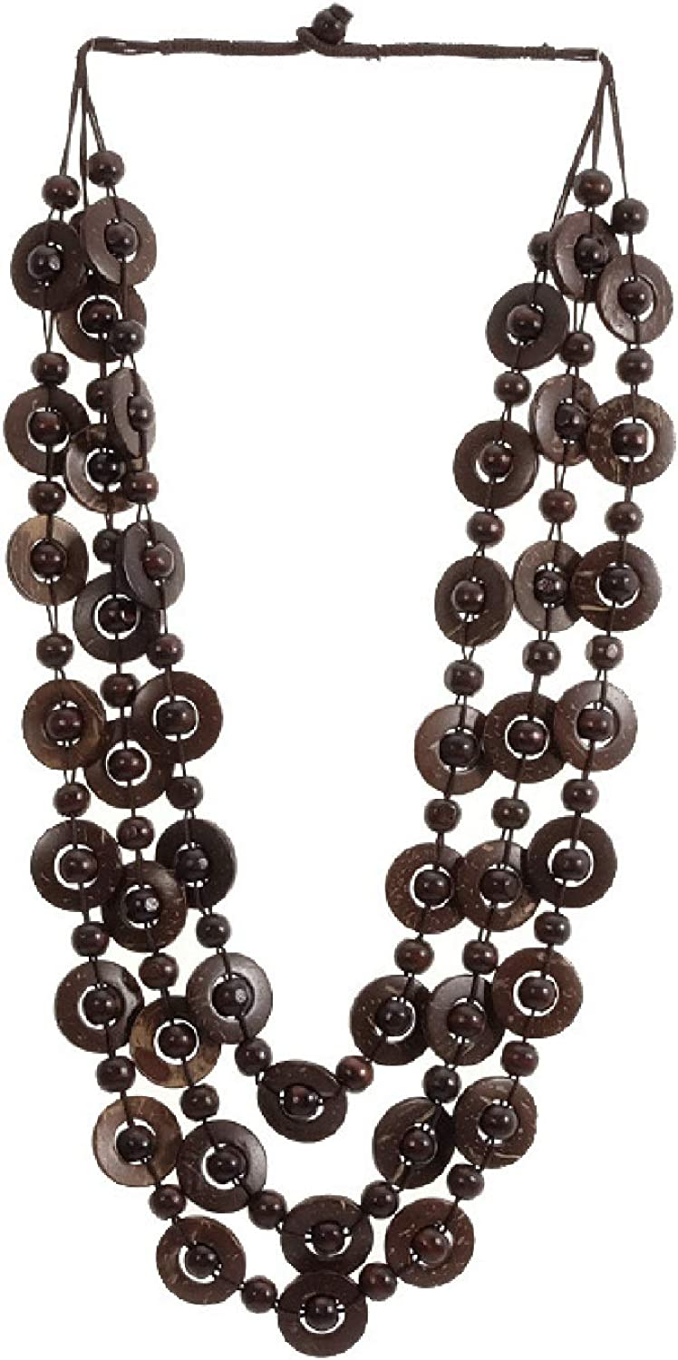 Smiling sunflower Bohemian Coconut Shell Wood Bead Necklace for Women Girls Ethnic Jewelry Handmade Beaded Long Necklace -Brown
