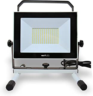 (New Version) NextLED 110W 10000LM LED Work Light (1000W Equivalent) IP 65 Water Proof Flood Light, 360 Degree Adjustable Angles, Stand Working Light for Workshop, Construction Site, ETL Certified