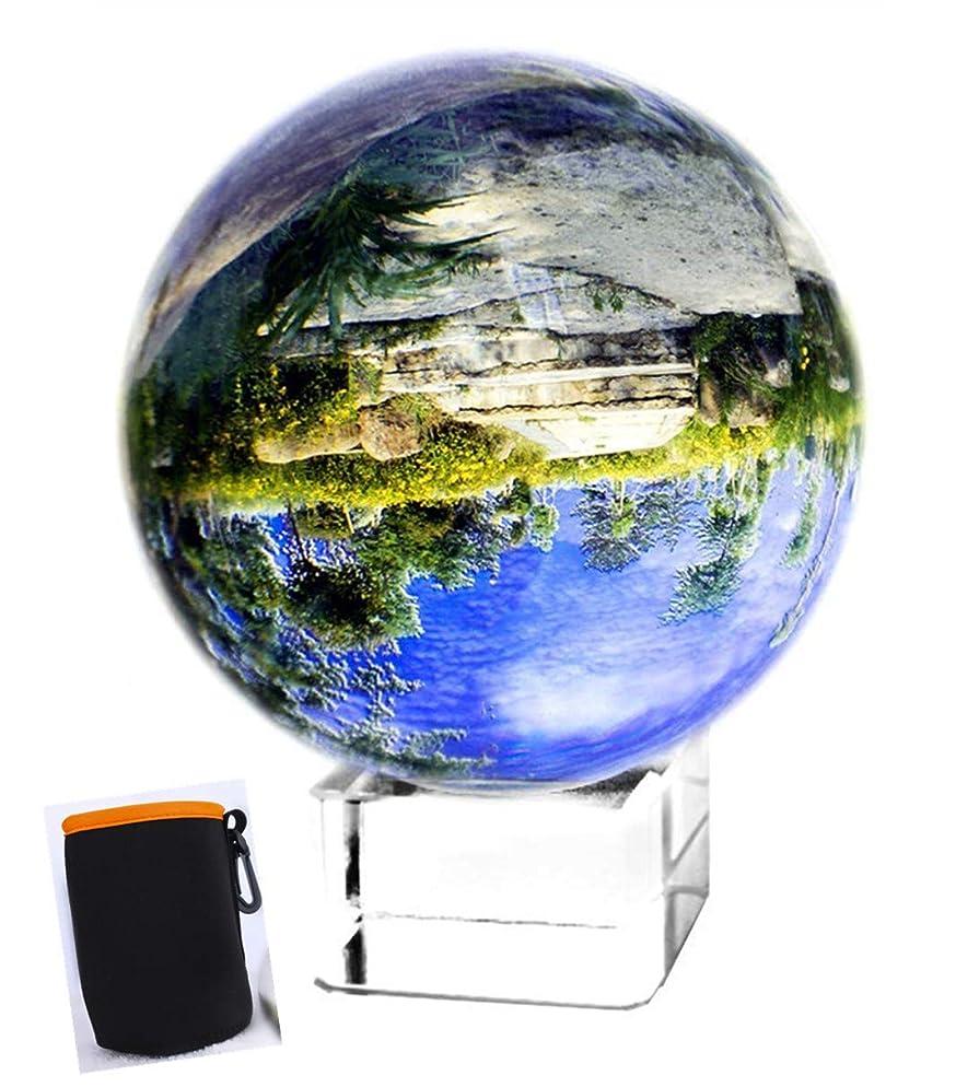 意義成分マングルH&Dクリスタルボール 撮影にピッタリな水晶玉 スタンド付き プレゼント 開運祈願インテリア(透明80mm)