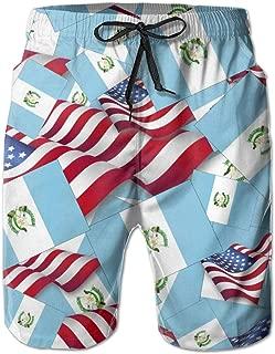 Men's Swim Trunks Guatemala Flag with America Flag Beach Board Shorts Quick Dry Sports Running Swim Board Shorts with Pockets Mesh Lining