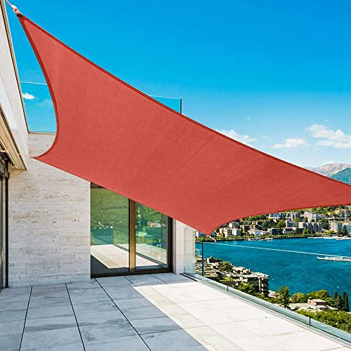 Shade&Beyond Rectangle Sun Shade Sail for Patio Lawn Deck Garden Pergola (10'x13', Red)