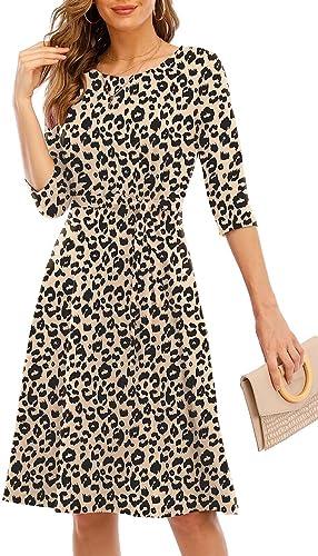 CHARMYI Tshirt Dresses for Women Casual Fall Dresses for Women 3/4 Sleeve T Shirt Dresses for Women Midi