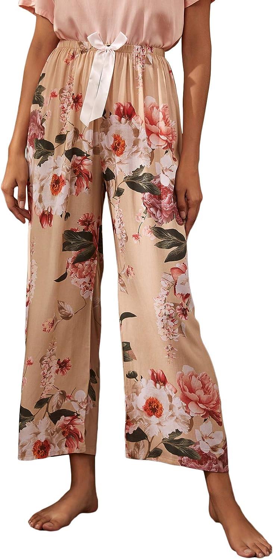 Milumia Women Casual Floral Print Elastic High Waisted Pants Sleepwear Lounge Pants