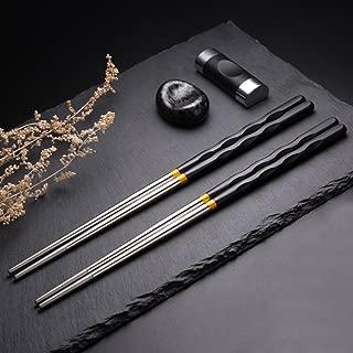 Bingolar Alloy Chopsticks Fiberglass Chopsticks Reusable Chopsticks,10 Pairs