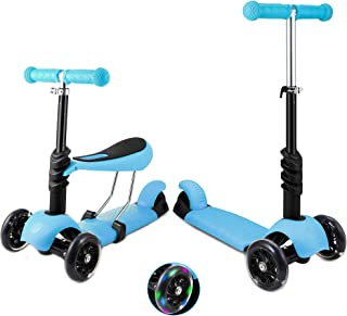 3 Wheels Kick Scooter for Kid Boy Girl,2 in 1 Toddler Scooters with Removable Seat,LED Light PU Flashing Wheel,Height Adju...