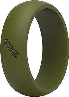 خاتم زفاف من السيليكون من ثاندرفيت للرجال، رباط مطاطي للزفاف (أخضر زيتوني، 15.5 - 16 (24.5 مم)