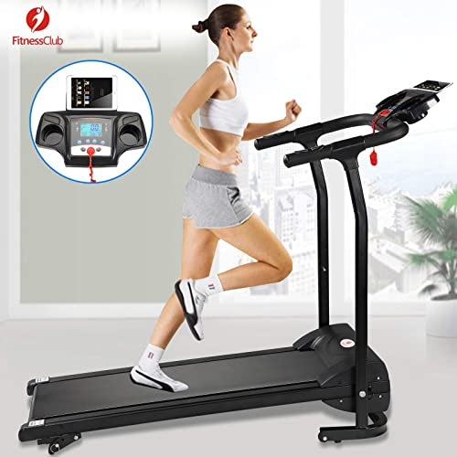 lowest Fitnessclub discount 2HP Folding Treadmill Electric Motorized Power 12KM/H Running Fitness Machine lowest with W/PAD Holder,Hand Grip Pulse Sensor for Home, Gym, Walking Jogging Cardio Fitness Exercise Trainer outlet online sale